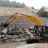 Gabion works and Boulder riprap at downstream of Landslide area