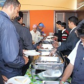 Food being served after the program was completed